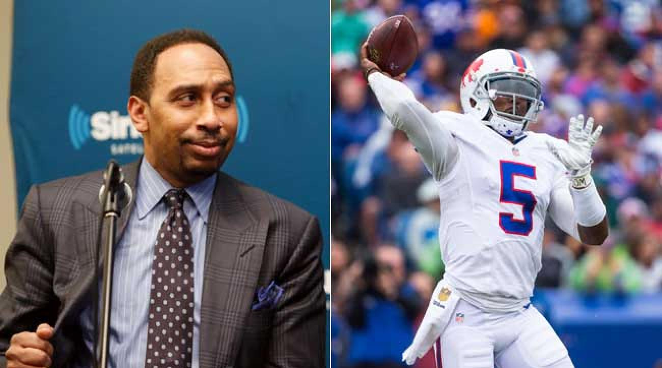 ESPN's Stephen A. Smith and Bills quarterback Tyrod Taylor. (Brett Carlsen and Robin Marchant/Getty Images)