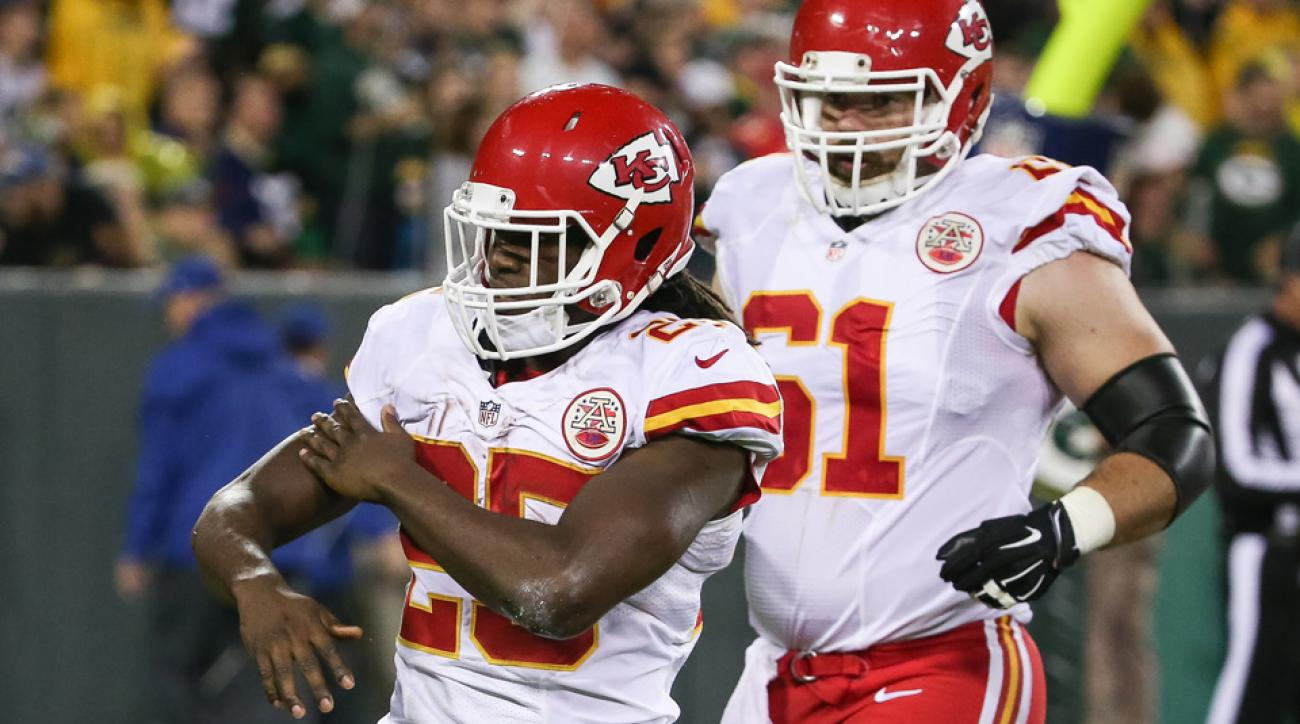 jamaal charles aaron rodgers touchdown celebration green bay packers kansas city chiefs