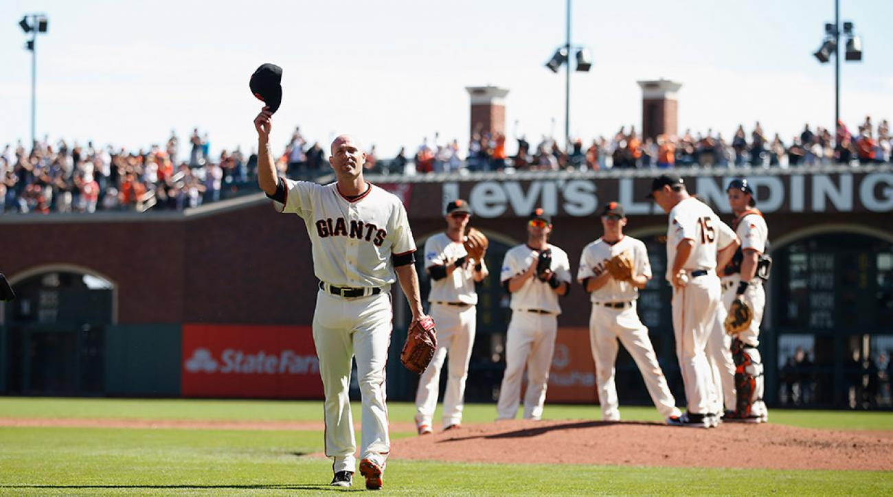giants tim hudson retirement last start ovation video