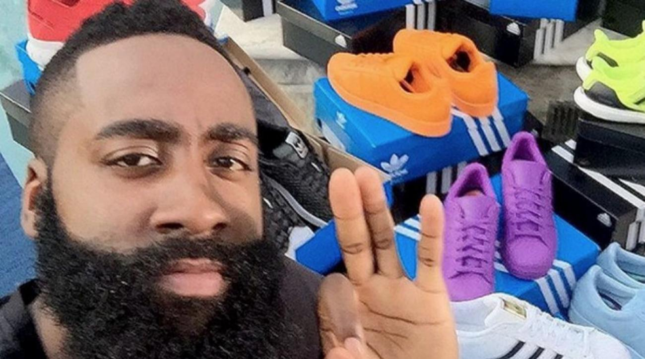 Houston Rockets' James Harden gets a truck full of Adidas gear