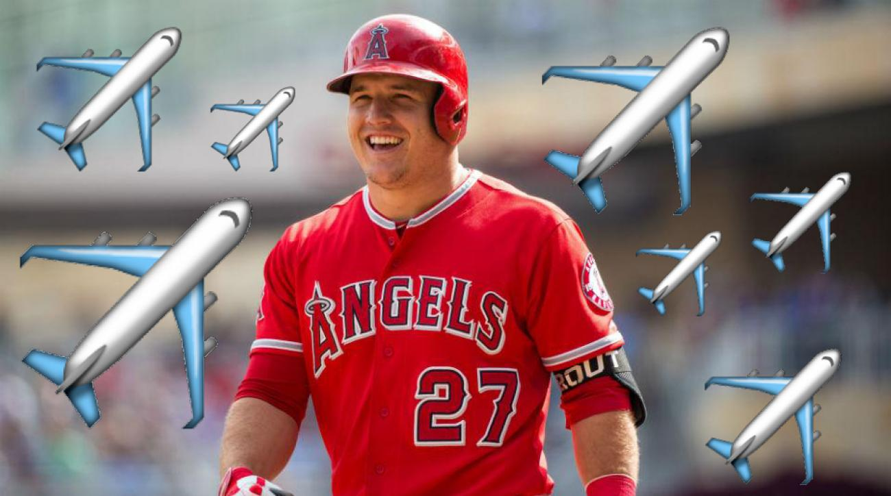 mike trout twitter airplane emoji stats angels