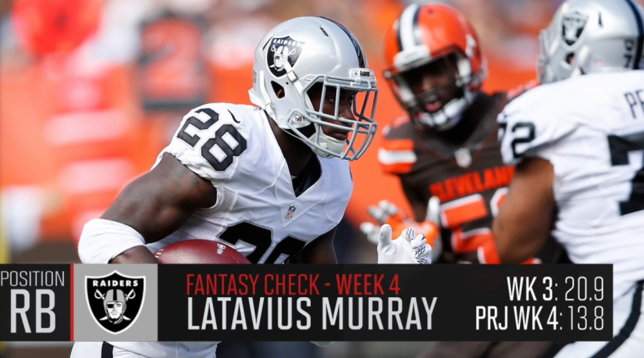 Latavius Murray carries the ball for the Oakland Raiders