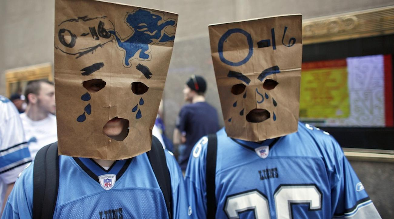 Detroit Lions fans express their anger following the NFL's first-ever 0-16 season in 2008.