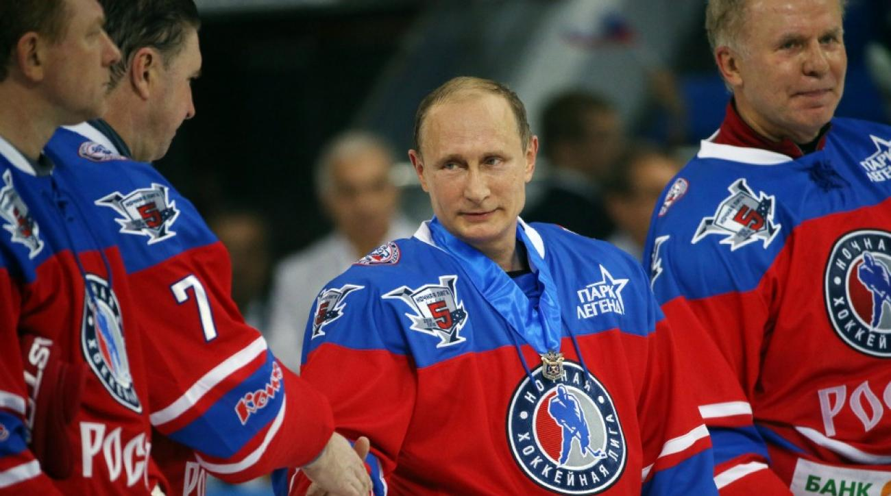Vladimir Putin plays hockey on his birthday