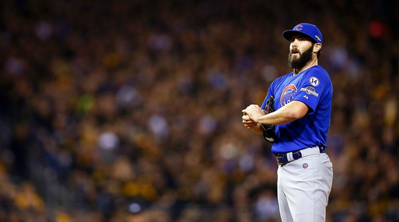 Chicago Cubs' Jake Arrieta says he is adjusting his nipple after every pitch