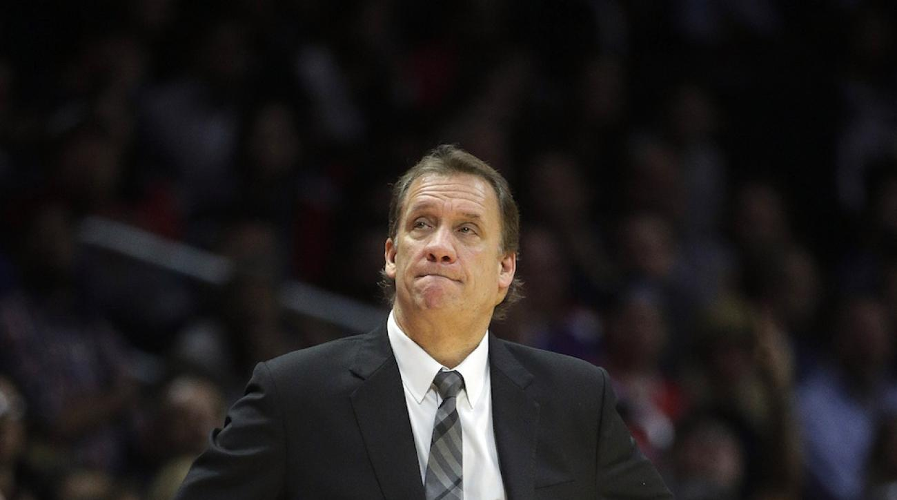 Minnesota Timberwolves coach Flip Saunders looks on during a 2014-15 regular-season game.