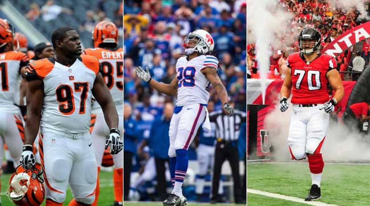 Geno Atkins, Ronald Darby and Jake Matthews. (Photos by Getty Images)