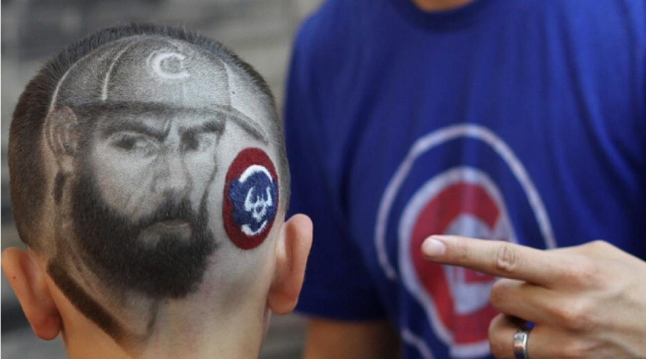 Chicago Cubs fan gets Jake Arrieta shaved into his head