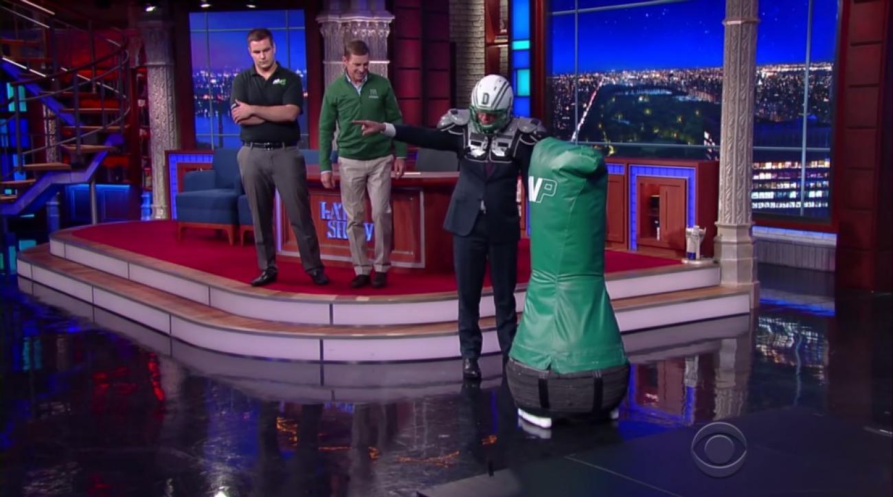 Stephen Colbert tackles Dartmouth's football robot