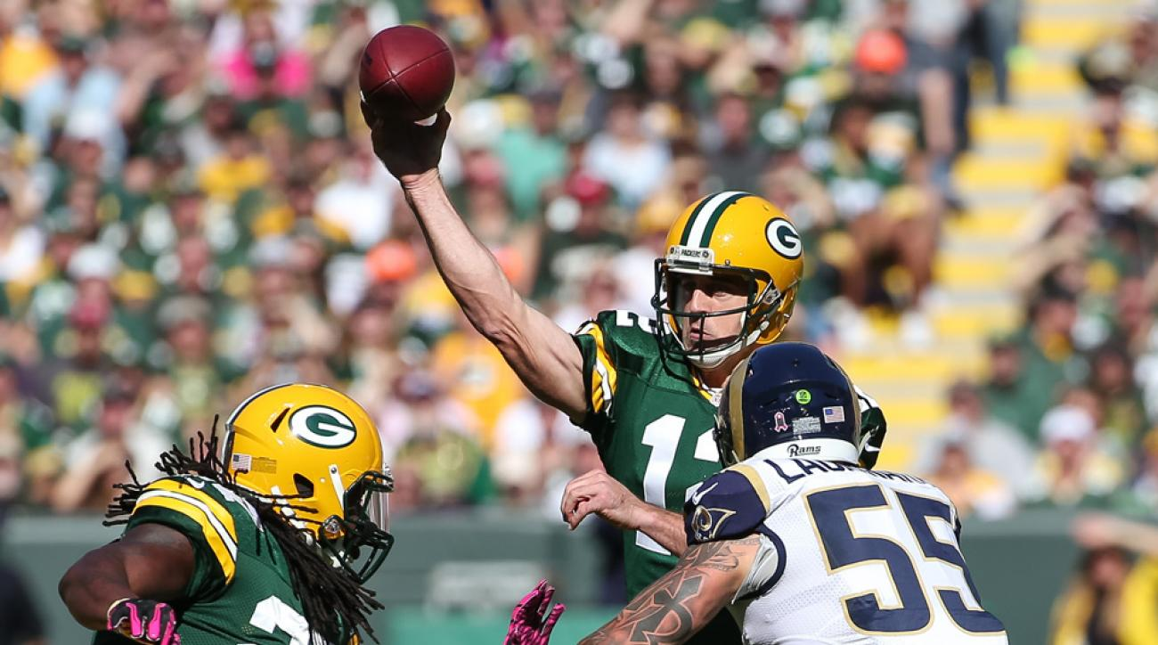 aaron rodgers interception packers rams