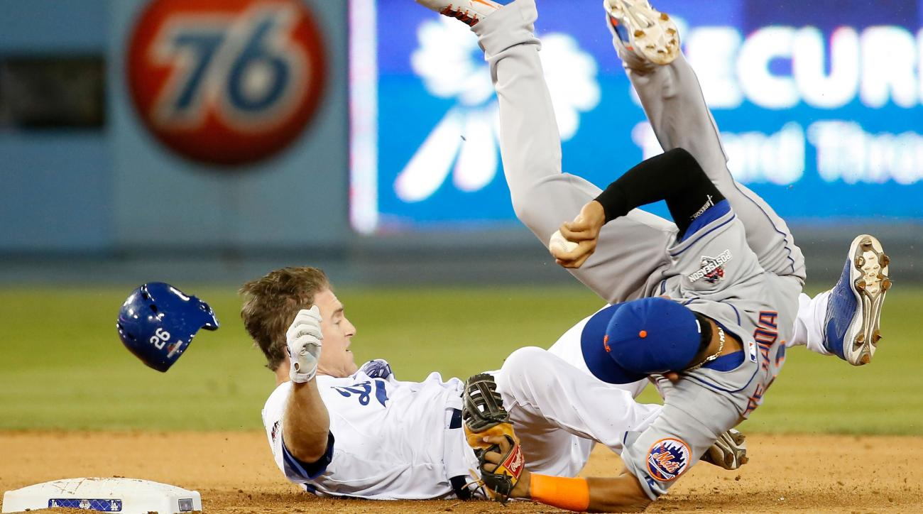 ruben tejada mets dodgers playoffs leg injury