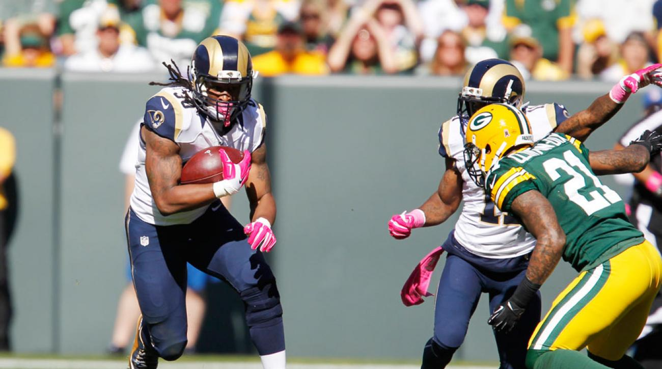 watch St.Louis Rams running back Todd Gurley slams Clay Matthews to ground
