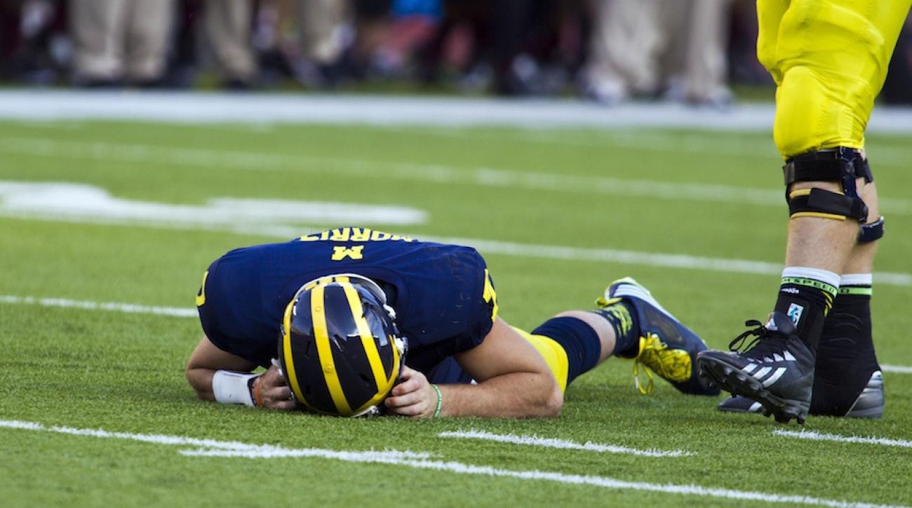 University of Michigan quarterback Shane Morris, shown here after sustaining a concussion on September 27, 2014.