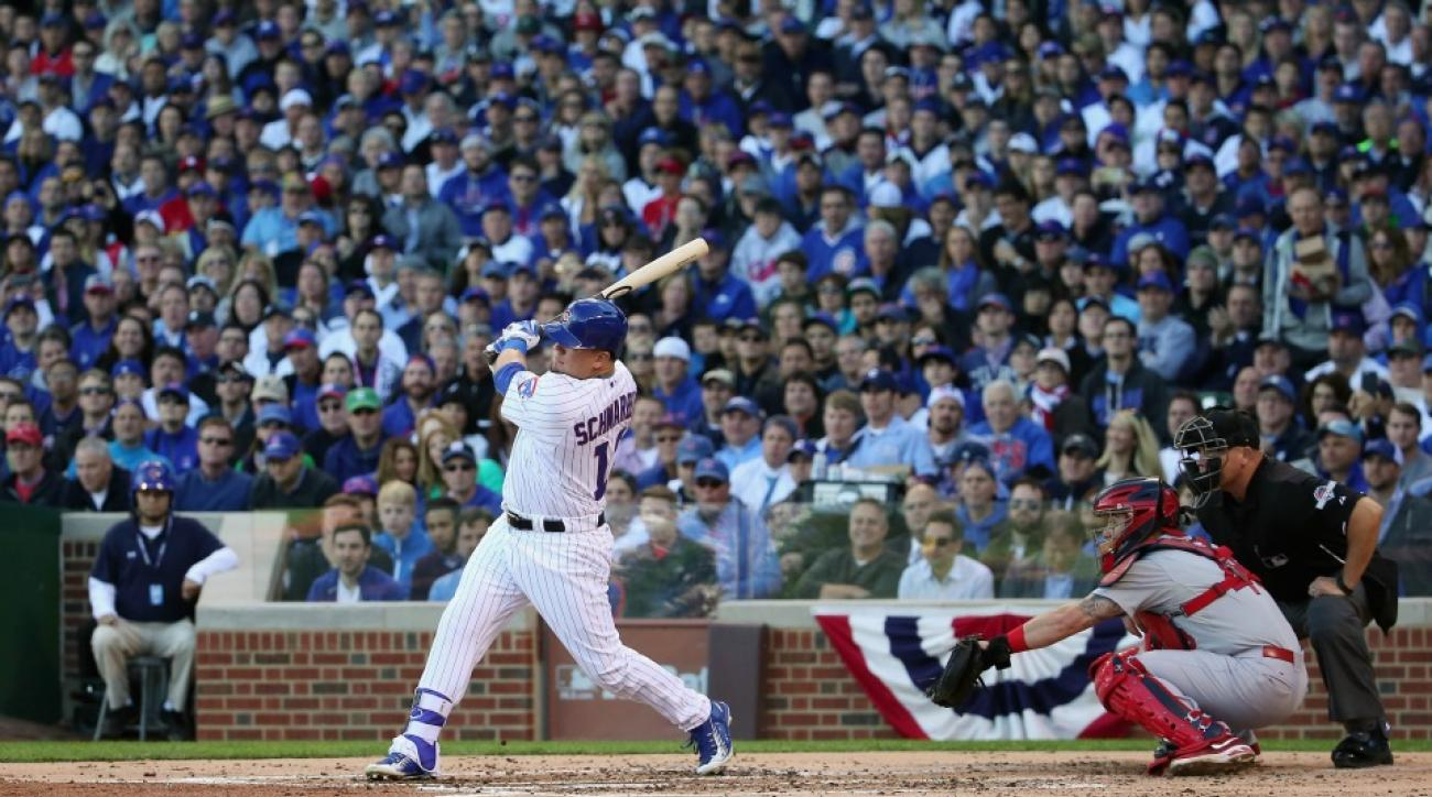 Chicago Cubs will leave Kyle Schwarber's home run on the video board