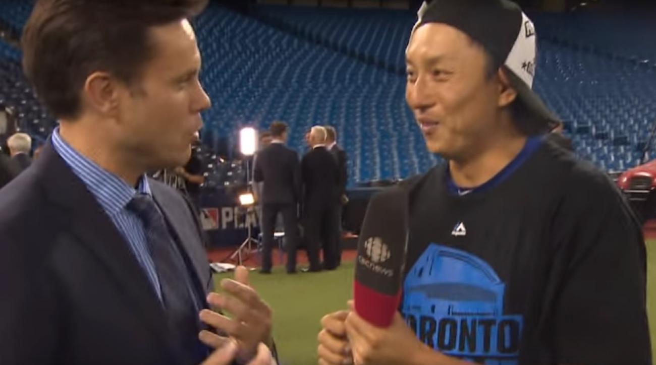munenori kawasaki interview: blue jays inf jokes on cbc (video