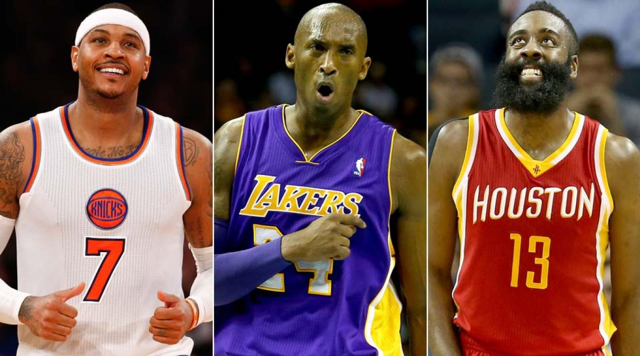 Carmelo Anthony, Kobe Bryant, James Harden