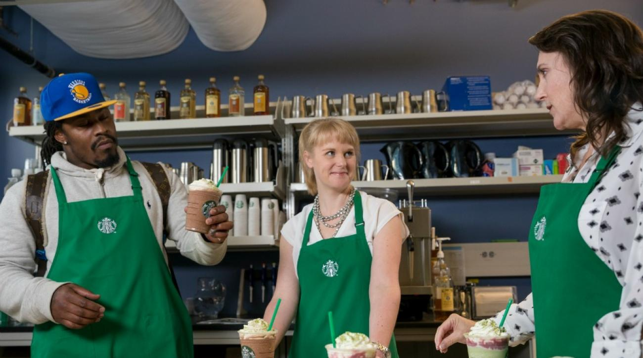 Seattle Seahawks' Marshawn Lynch unveils Starbuck Beast Mode Frappuccino