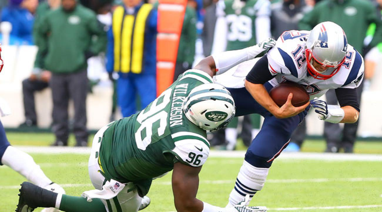 Muhammad Wilkerson sacks Tom Brady last December.