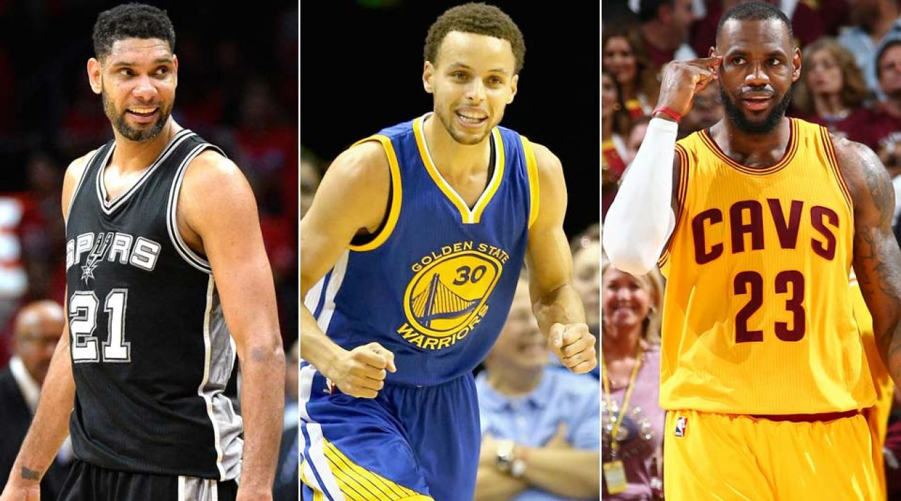 Tim Duncan, Stephen Curry, LeBron James