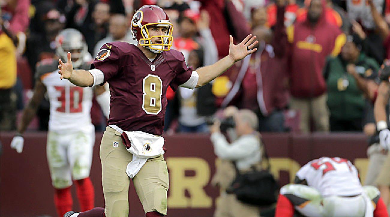 Kirk Cousins celebrates game-winning touchdown to Jordan Reed to beat Buccaneers.