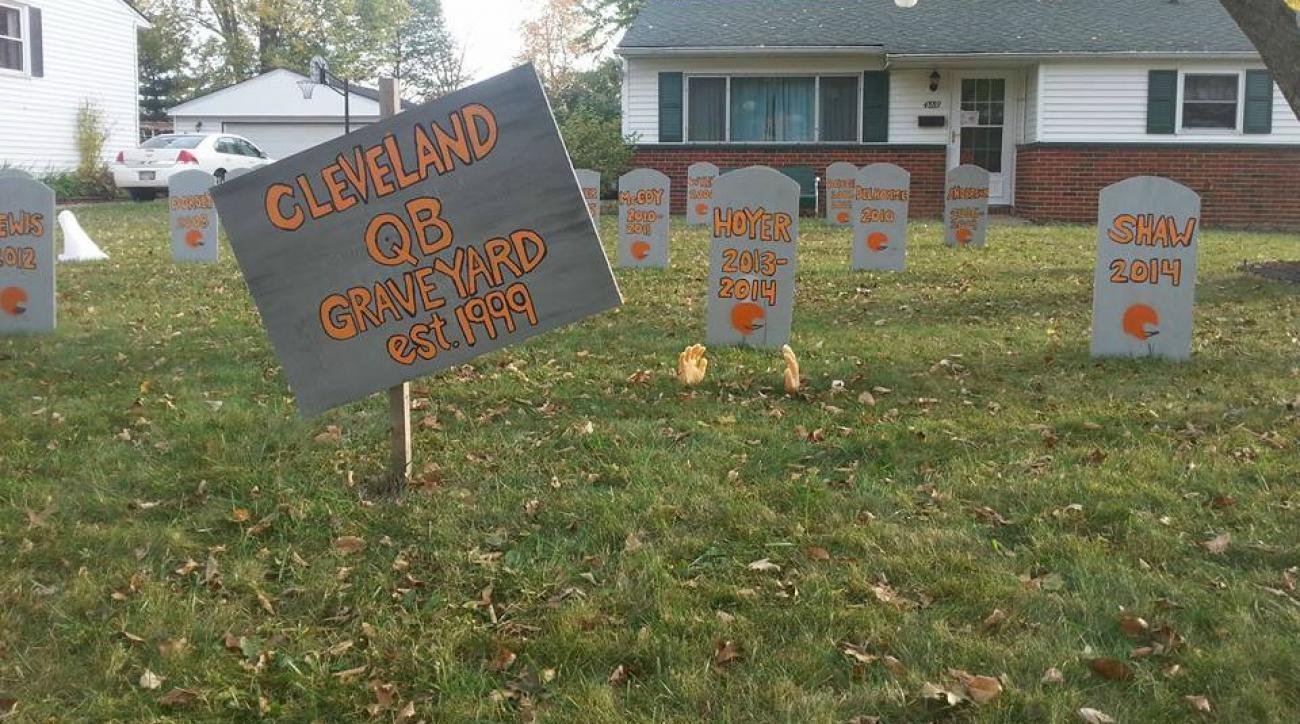 Cleveland Browns quarterback headstones serve as Halloween decorations