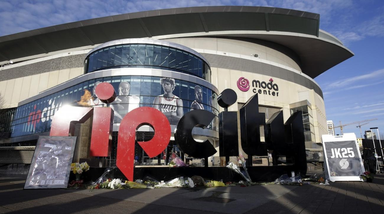 Outside the Moda Center, home of the Portland Trail Blazers and Rip City.