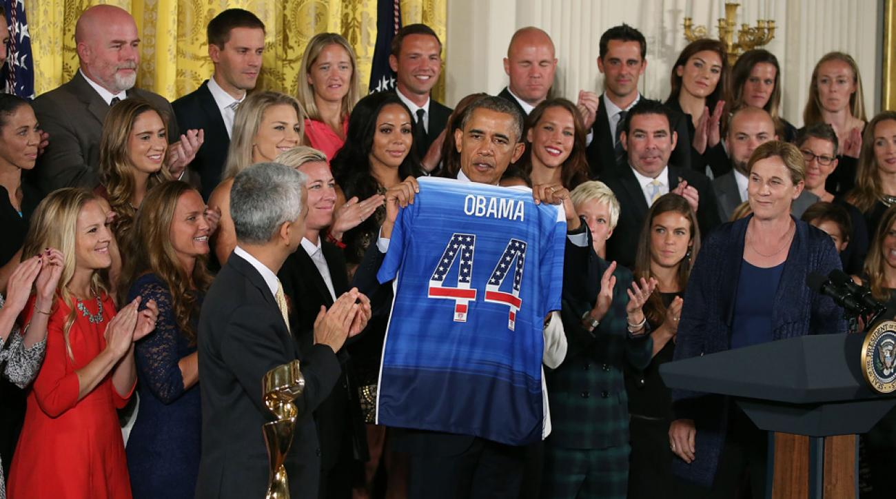 President Barack Obama and the U.S. women's national team at the White House