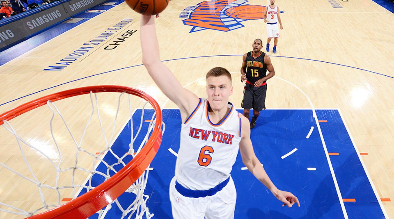 Kristaps Porzingis New York Knicks dunk video Atlanta Hawks