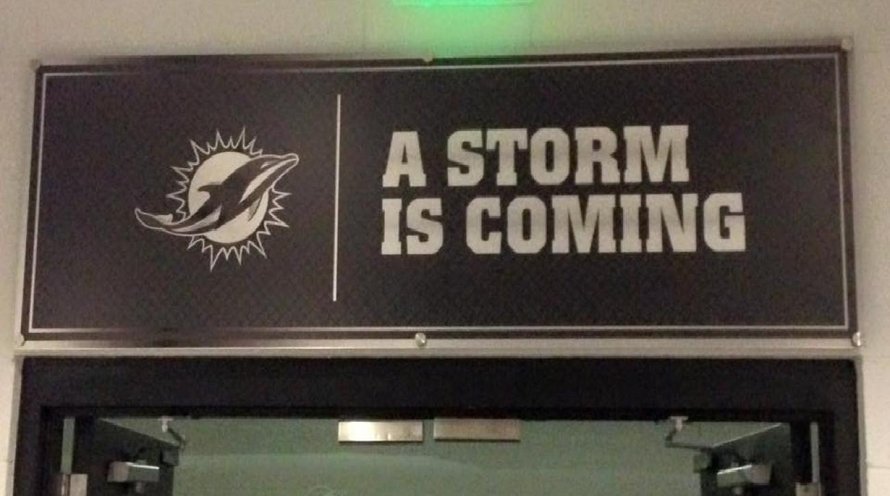 Dan Campbell has new signage around the Dolphins' facilities