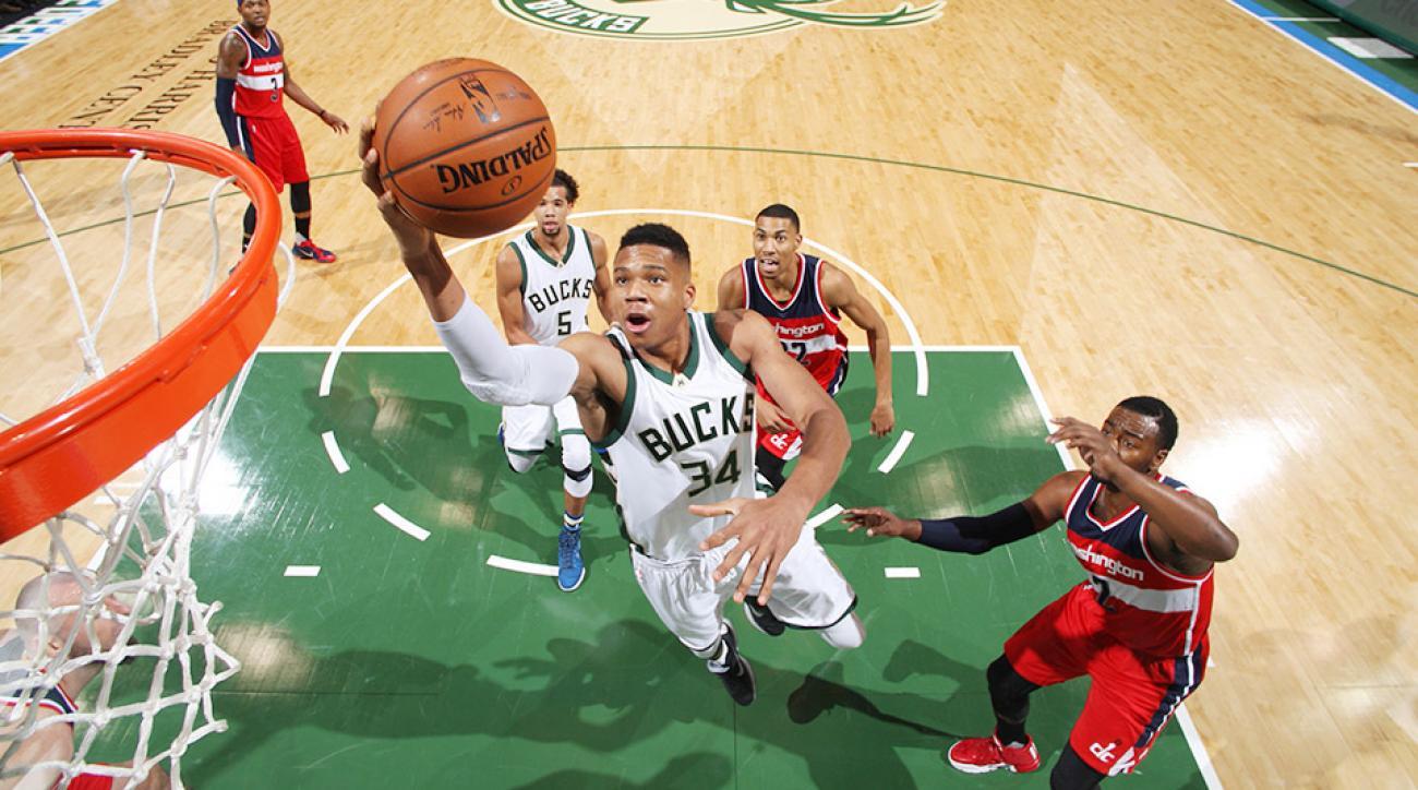 Giannis Antetokounmpo dunk video Milwaukee Bucks Washington Wizards