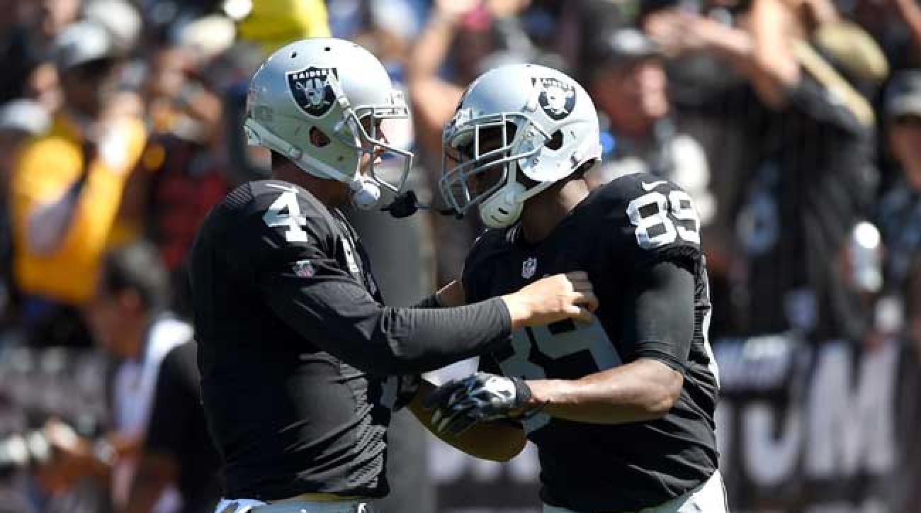 Oakland Raiders quarterback Derek Carr and wideout Amari Cooper.