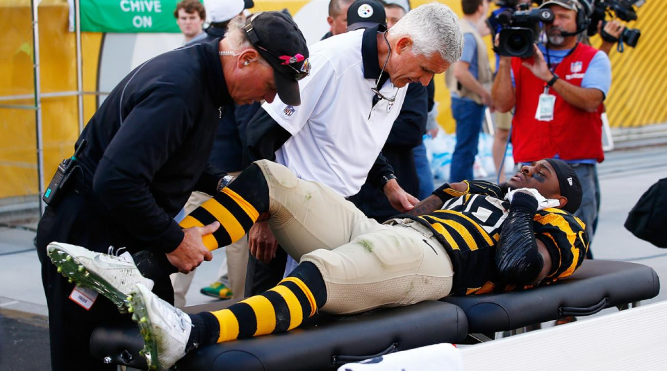 Pittsburgh Steelers running back Le'Veon Bell was carted off the field with a torn MCL during Sunday's game against the Cincinnati Bengals.