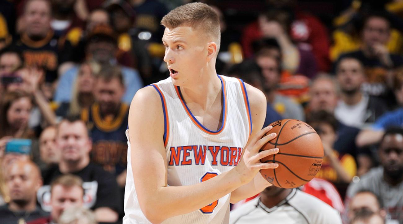 Kristaps Porzingis dunks on Kevin Love New York Knicks Cleveland Cavaliers