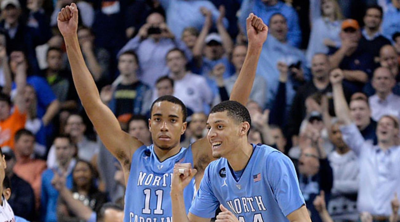 Brice Johnson (left) and Justin Jackson will have to step up to help North Carolina make up for the temporary absence of star guard Marcus Paige.