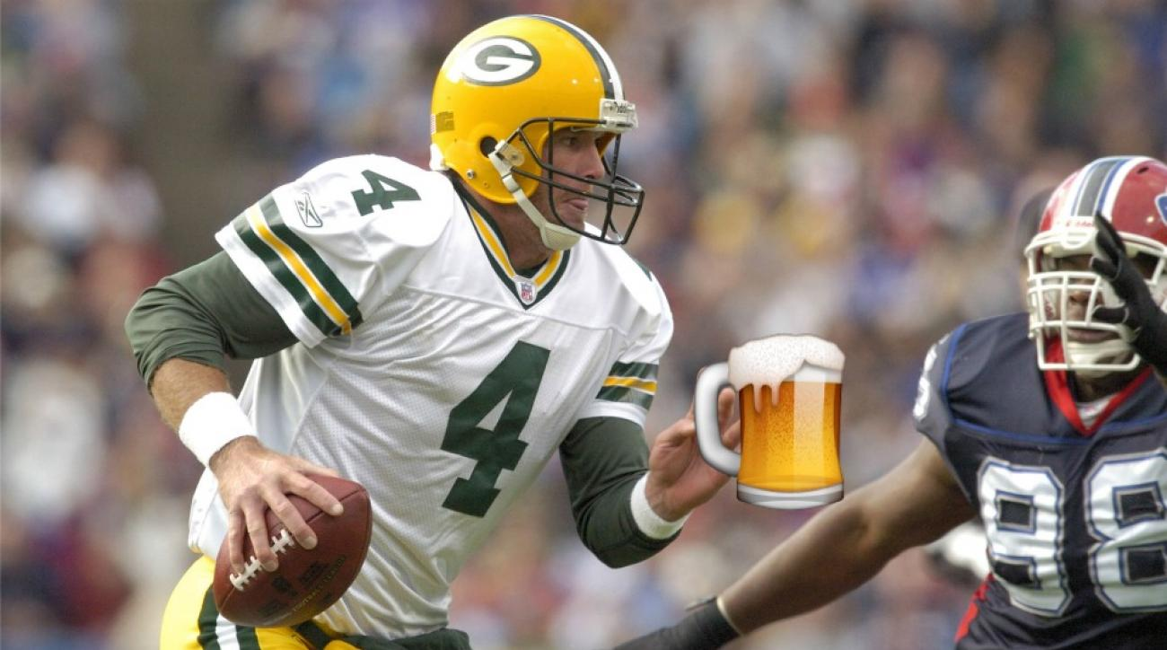 Green Bay Packers Brett Favre getting a commemorative beer