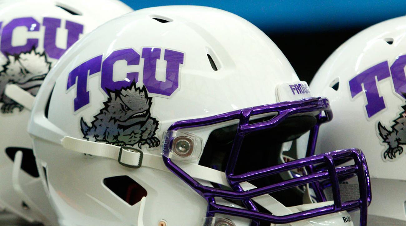 TCU Oklahoma State parade victims helmet decals
