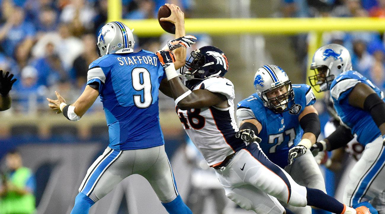 Shaquil Barrett of the Broncos forces a fumble against Matthew Stafford and the Lions in Week 3.