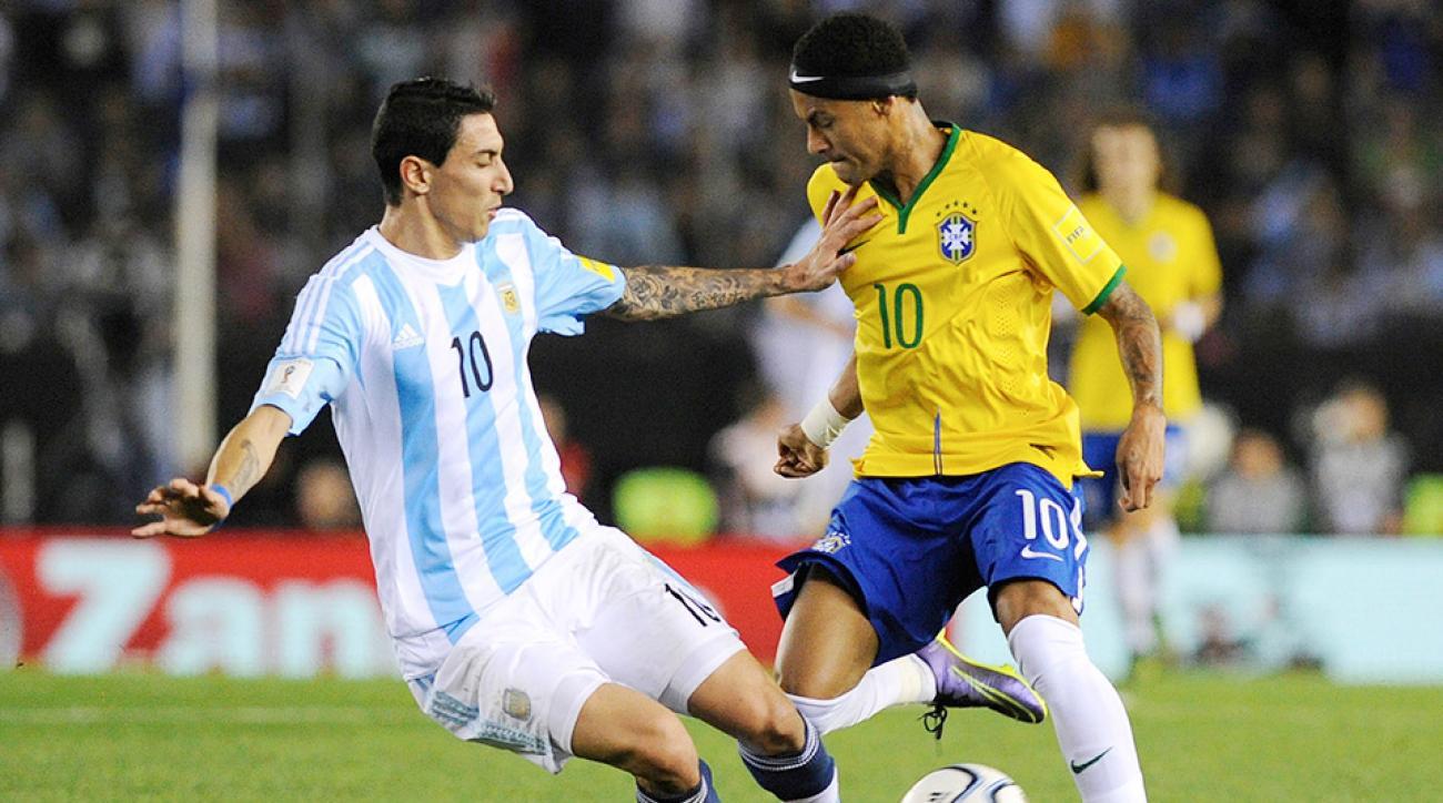 Neymar Andel Di Maria Brazil Argentina World Cup qualifying