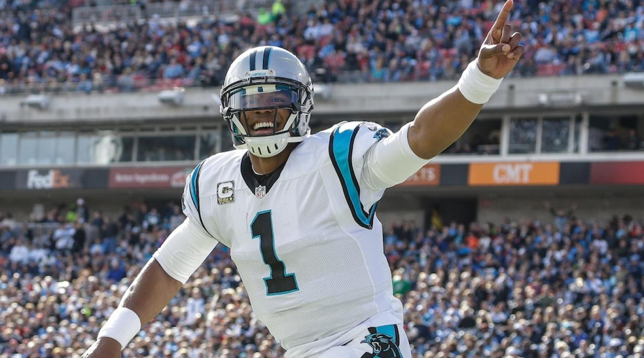 Cam Newton of the Carolina Panthers celebrates a touchdown.