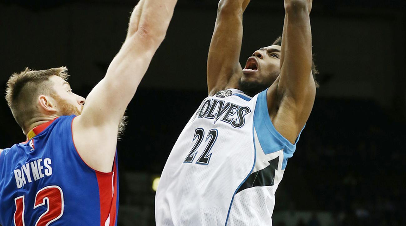 Andrew Wiggins dunk video Aron Baynes Minnesota Timberwolves Detroit Pistons