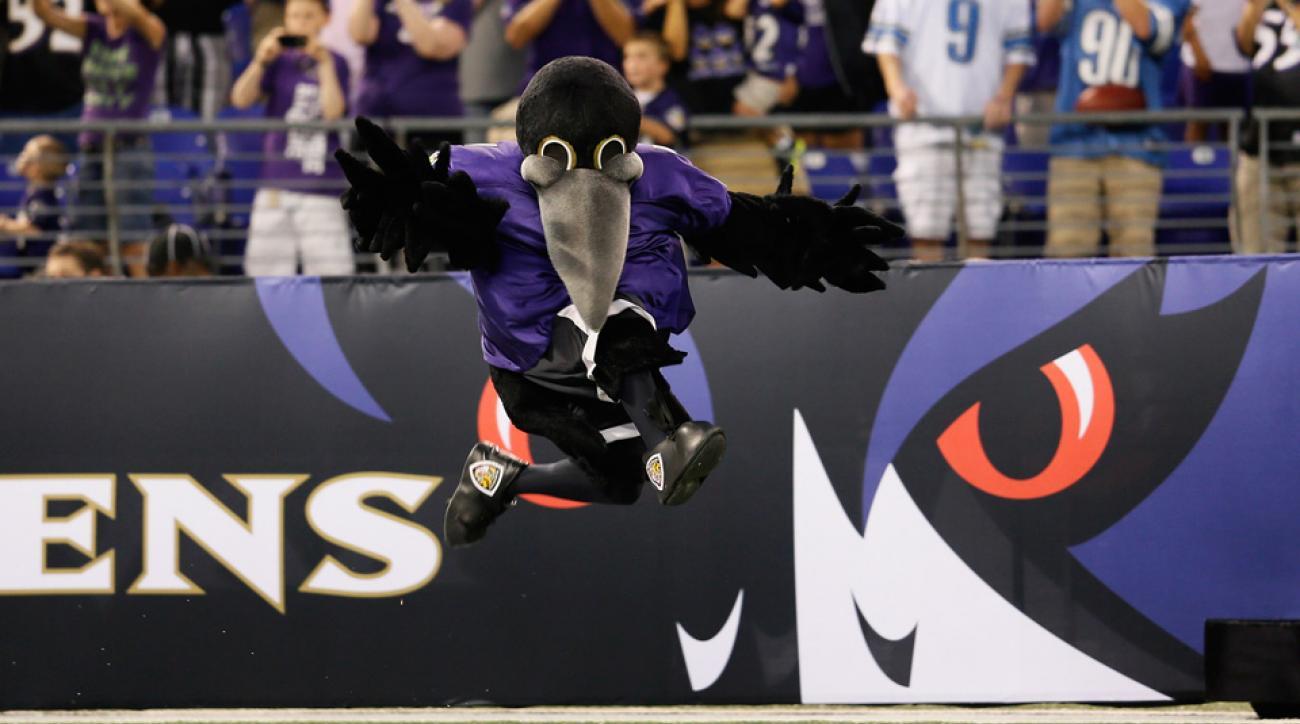 ravens mascot video celebrate missed field goal