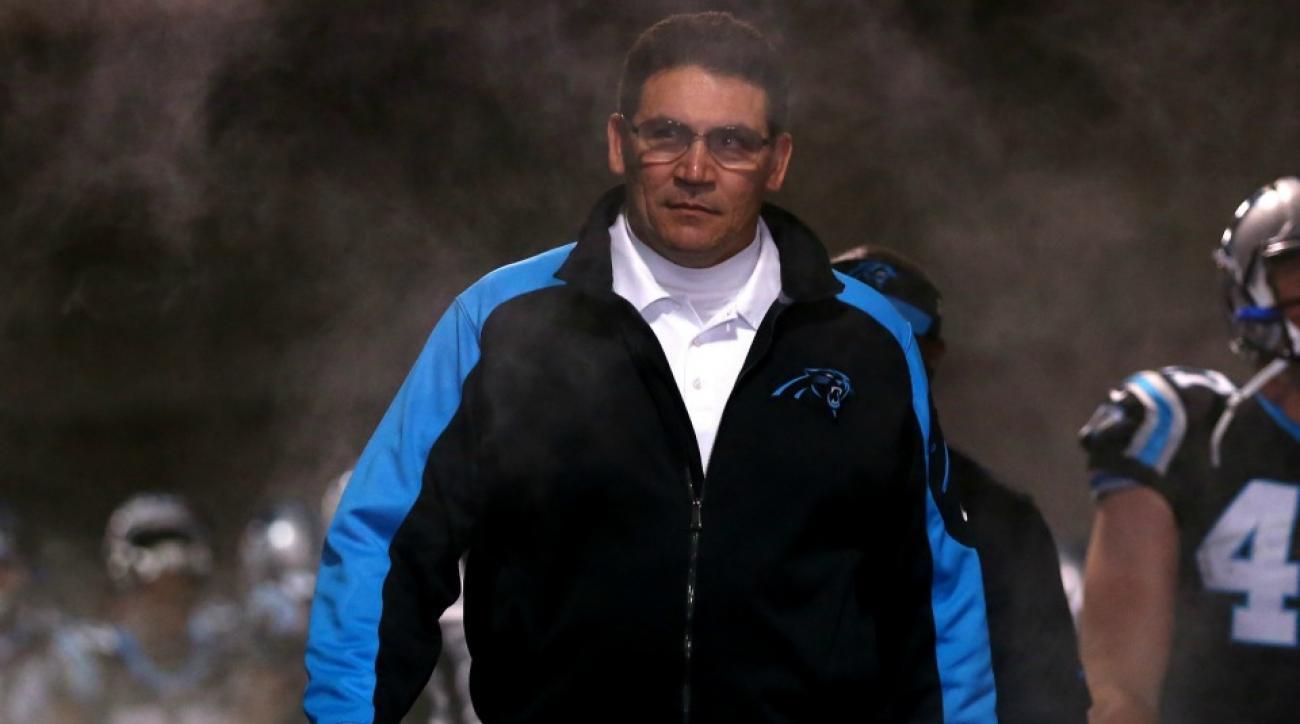 Carolina Panthers' Ron Rivera dabbed after game