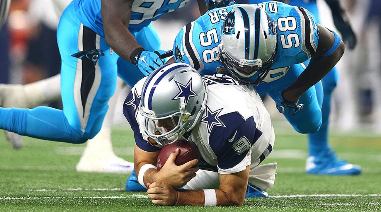 Tony Romo injury mars Cowboys' blowout loss to Panthers on Thanksgiving