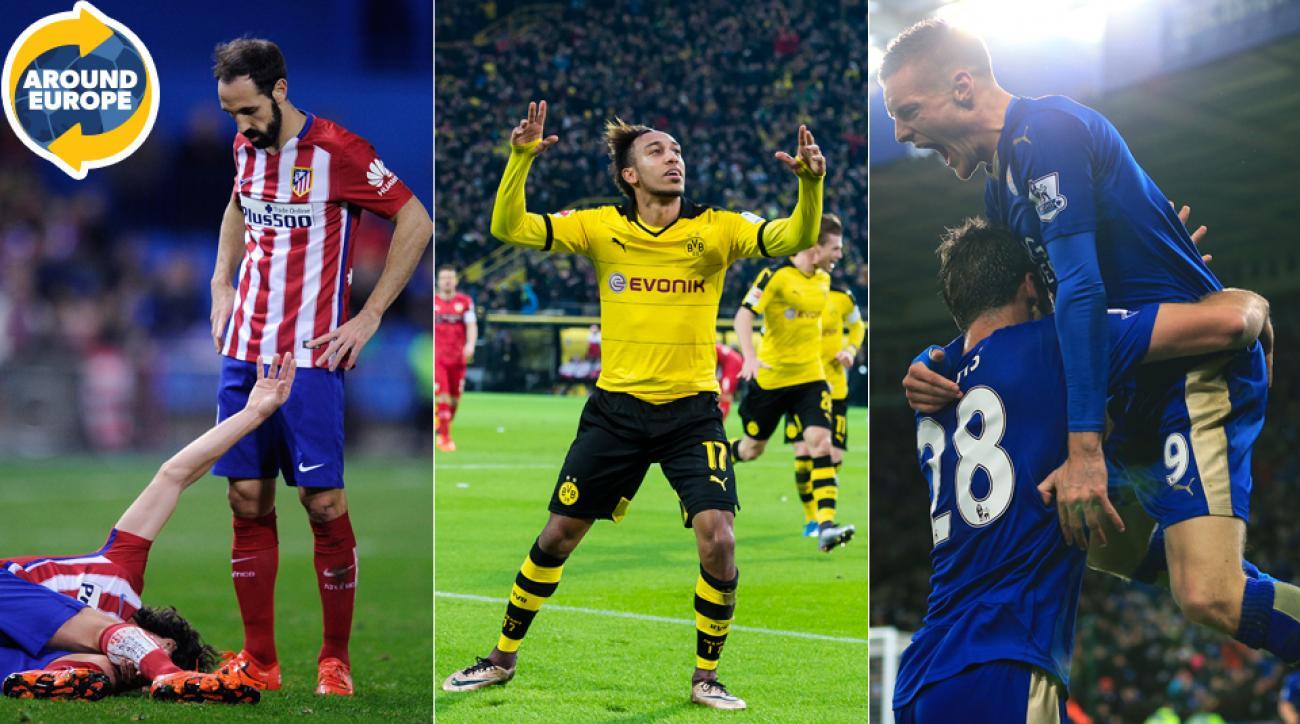 Atletico Madrid's Tiago, Borussia Dortmund's Pierre Emerick-Aubameyang, Leicester City's Jamie Vardy