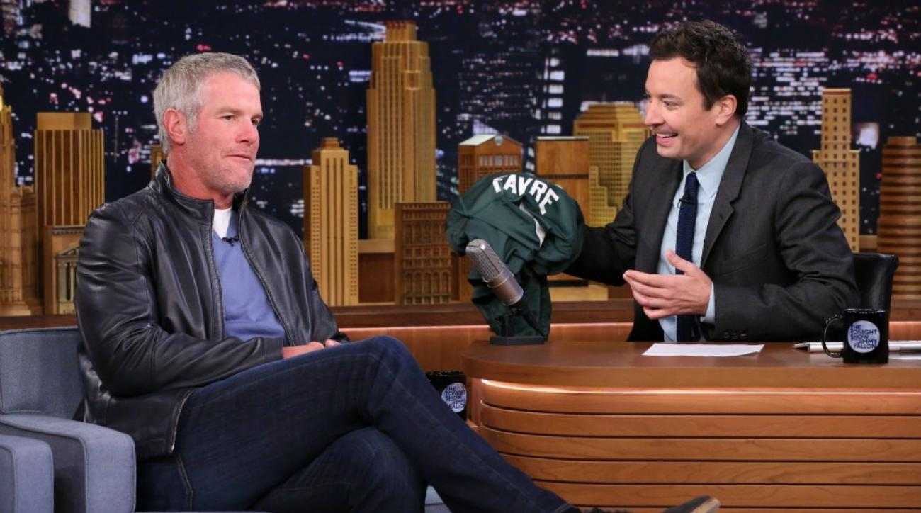 Brett Favre smashed some plates with footballs on Jimmy Fallon