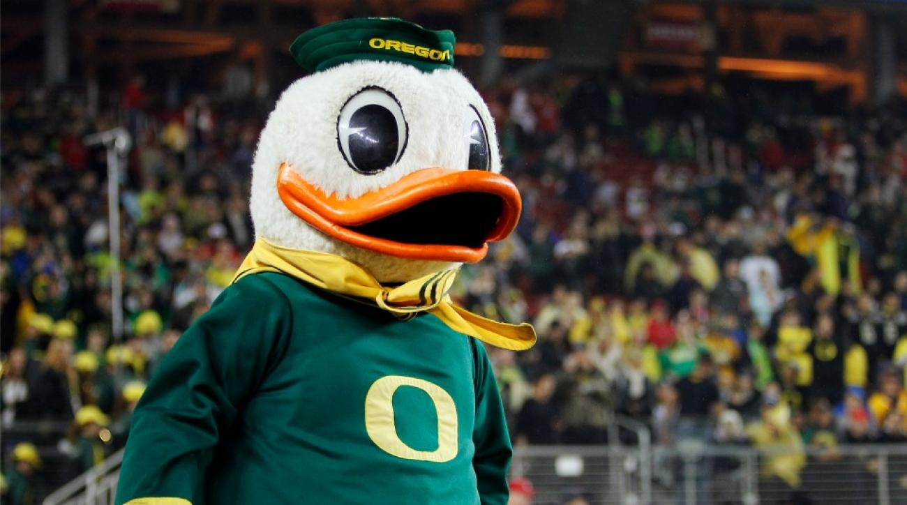 Oregon Duck mascot is having trouble coping with Scott Frost leaving