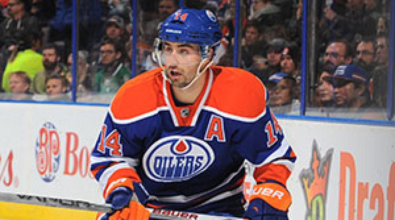 Jordan Eberle #14 of the Edmonton Oilers skates.