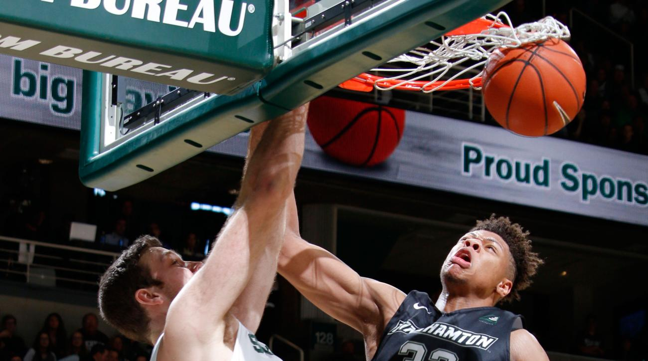 michigan state spartans score alley-oop opening tip vs binghamton video