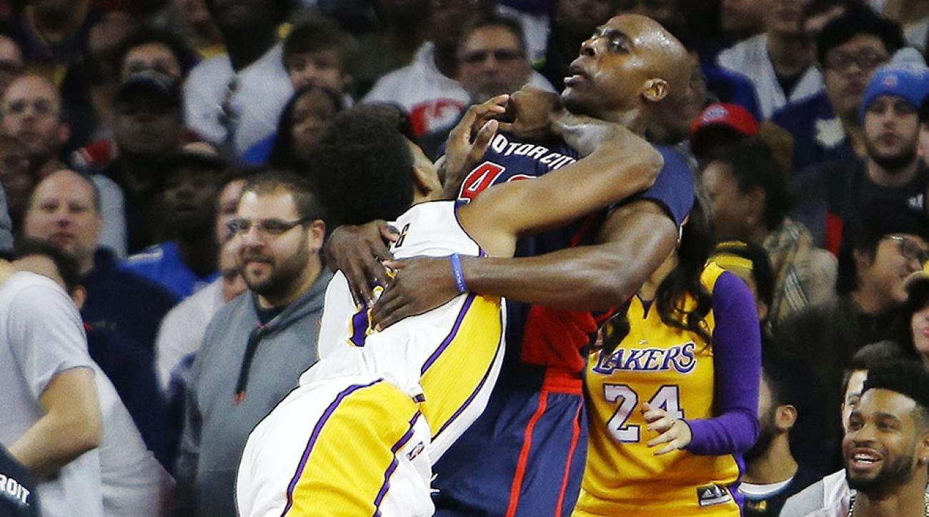 lakers pistons nick young ejected anthony tolliver video