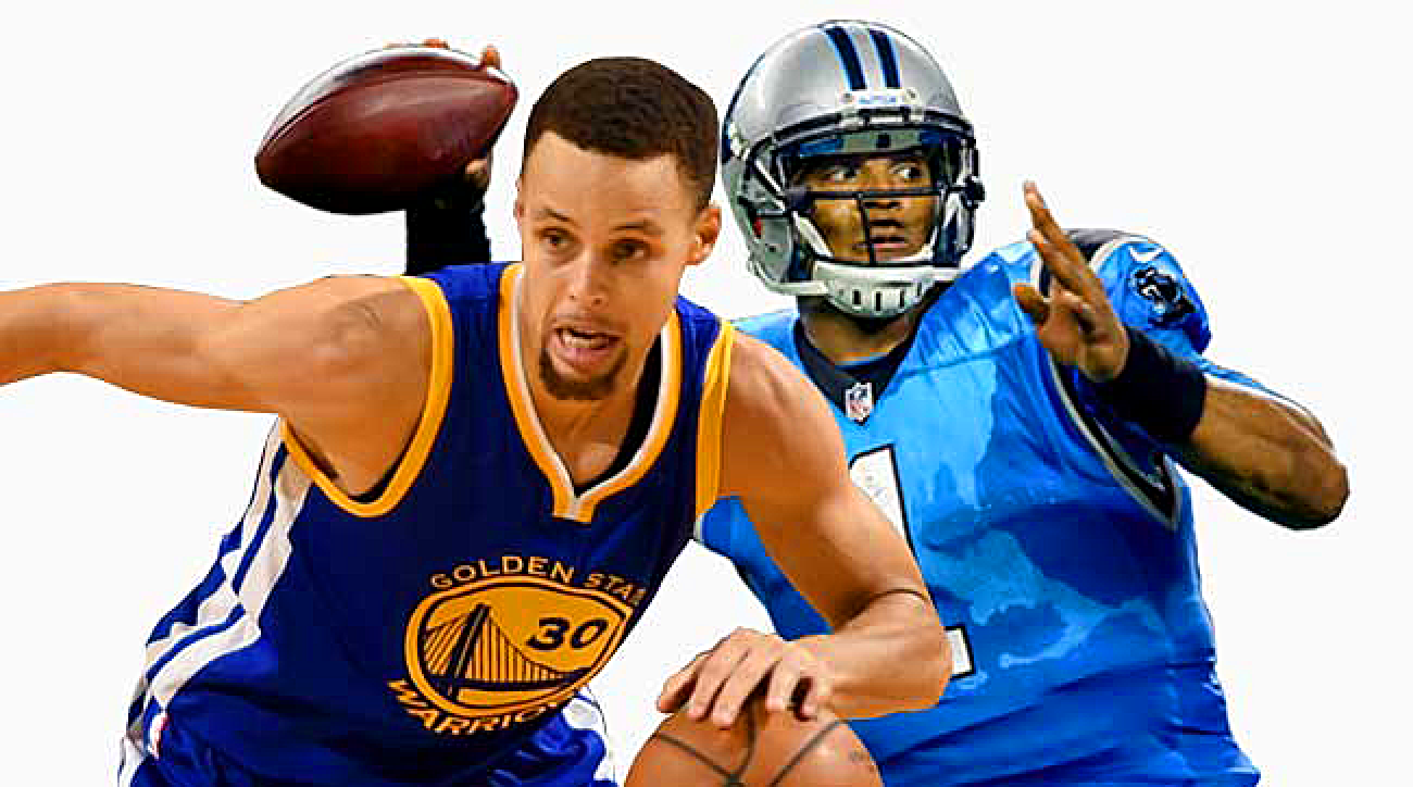 Golden State Warriors guard Stephen Curry and Carolina Panthers quarterback Cam Newton.